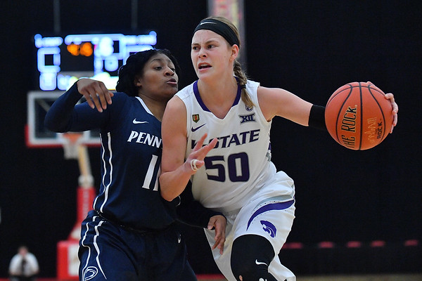 LAS VEGAS, NV - NOVEMBER 25:  Shaelyn Martin #50 of the Kansas State Wildcats drives against Teniya Page #11 of the Penn State Lady Lions during the SouthPoint Thanksgiving Shootout at SouthPoint Casino on November 25, 2017 in Las Vegas, Nevada.  (Photo by Sam Wasson for Kansas State)