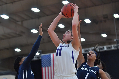LAS VEGAS, NV - NOVEMBER 25:  Peyton Williams #11 of the Kansas State Wildcats shoots against Alisia Smith #1 of the Penn State Lady Lions during the SouthPoint Thanksgiving Shootout at SouthPoint Casino on November 25, 2017 in Las Vegas, Nevada.  (Photo by Sam Wasson for Kansas State)