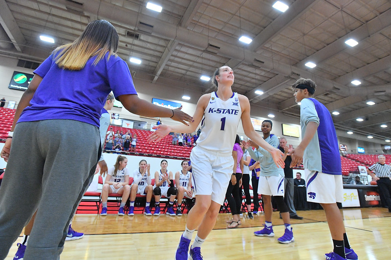 LAS VEGAS, NV - NOVEMBER 25:  Kaylee Page #1 of the Kansas State Wildcats is introduced before their team's game against the Penn State Lady Lions during the SouthPoint Thanksgiving Shootout at SouthPoint Casino on November 25, 2017 in Las Vegas, Nevada.  (Photo by Sam Wasson for Kansas State)