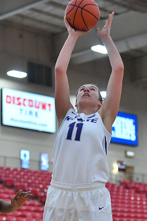 LAS VEGAS, NV - NOVEMBER 25:  Peyton Williams #11 of the Kansas State Wildcats shoots against the Penn State Lady Lions during the SouthPoint Thanksgiving Shootout at SouthPoint Casino on November 25, 2017 in Las Vegas, Nevada.  (Photo by Sam Wasson for Kansas State)