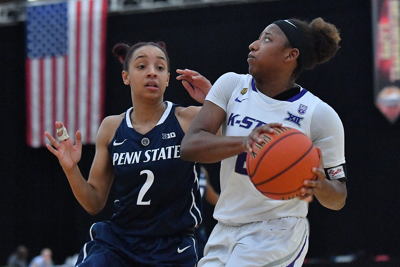 LAS VEGAS, NV - NOVEMBER 25:  Cymone Goodrich #2 of the Kansas State Wildcats drives against Amari Carter #2 of the Penn State Lady Lions during the SouthPoint Thanksgiving Shootout at SouthPoint Casino on November 25, 2017 in Las Vegas, Nevada.  (Photo by Sam Wasson for Kansas State)