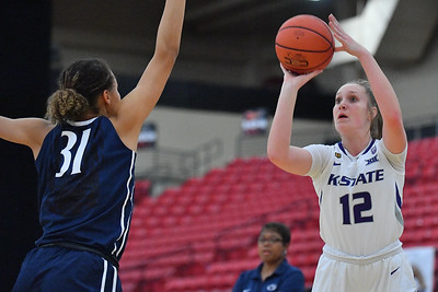LAS VEGAS, NV - NOVEMBER 25:  Rachel Ranke #12 of the Kansas State Wildcats shoots against Jaida Travascio-Green #31 of the Penn State Lady Lions during the SouthPoint Thanksgiving Shootout at SouthPoint Casino on November 25, 2017 in Las Vegas, Nevada.  (Photo by Sam Wasson for Kansas State)