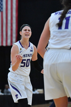 LAS VEGAS, NV - NOVEMBER 25:  Shaelyn Martin #50 of the Kansas State Wildcats celebrates after her team made a basket against the Penn State Lady Lions during the SouthPoint Thanksgiving Shootout at SouthPoint Casino on November 25, 2017 in Las Vegas, Nevada.  (Photo by Sam Wasson for Kansas State)