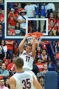 December 11, 2013: Arizona Wildcats forward Aaron Gordon (11) gets a reverse dunk in a game between No. 1 Arizona and New Mexico State at McKale Center in Tucson, Ariz. Arizona defeated New Mexico State 74-48.