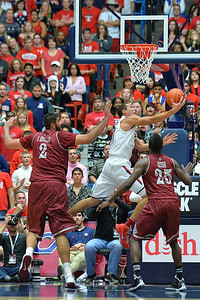 December 11, 2013: Arizona Wildcats forward Aaron Gordon (11) gets a reverse layup in a game between No. 1 Arizona and New Mexico State at McKale Center in Tucson, Ariz. Arizona defeated New Mexico State 74-48.