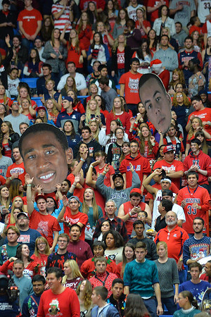 December 11, 2013: Members of the Arizona Wildcats Zona Zoo hold up giant poster heads in a game between No. 1 Arizona and New Mexico State at McKale Center in Tucson, Ariz. Arizona defeated New Mexico State 74-48.