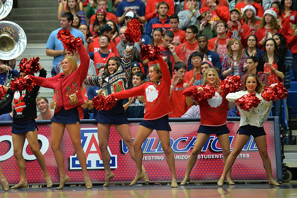 December 11, 2013: Members of the Arizona pom line perform before a game between No. 1 Arizona and New Mexico State at McKale Center in Tucson, Ariz. Arizona defeated New Mexico State 74-48.