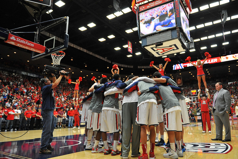 December 11, 2013: The Arizona Wildcats huddle before the start of a game between No. 1 Arizona and New Mexico State at McKale Center in Tucson, Ariz. Arizona defeated New Mexico State 74-48.