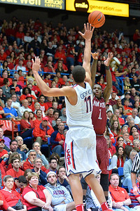 December 11, 2013: New Mexico State Aggies guard DK Eldridge (1) shoots over Arizona Wildcats forward Aaron Gordon (11) in a game between No. 1 Arizona and New Mexico State at McKale Center in Tucson, Ariz. Arizona defeated New Mexico State 74-48.