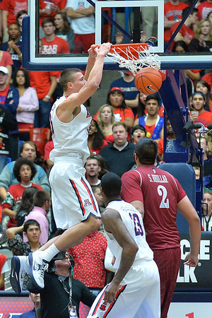 December 11, 2013: Arizona Wildcats center Kaleb Tarczewski (35) gets a dunk in a game between No. 1 Arizona and New Mexico State at McKale Center in Tucson, Ariz. Arizona defeated New Mexico State 74-48.