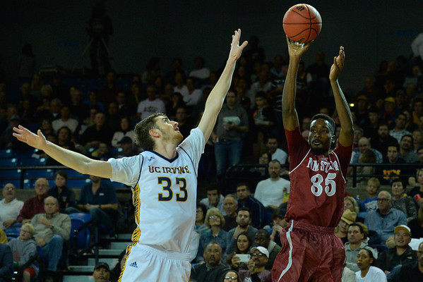 Jan 2, 2016: New Mexico State Aggies guard Jalyn Pennie (35) shoots a three pointer in a game between New Mexico State and UC Irvine at the Bren Events Center in Irvine, Calif. The Anteaters defeated the Aggies 54-52.