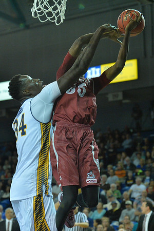 Jan 2, 2016: New Mexico State Aggies guard Jalyn Pennie (35) battles UC Irvine Anteaters center Mamadou Ndiaye (34) for a rebound in a game between New Mexico State and UC Irvine at the Bren Events Center in Irvine, Calif. The Anteaters defeated the Aggies 54-52.