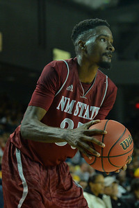 Jan 2, 2016: New Mexico State Aggies guard Jalyn Pennie (35) gathers the ball before taking a shot in a game between New Mexico State and UC Irvine at the Bren Events Center in Irvine, Calif. The Anteaters defeated the Aggies 54-52.