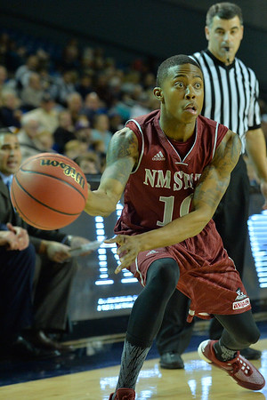Jan 2, 2016: New Mexico State Aggies guard Rashawn Browne (10) throws an entry pass into the post in a game between New Mexico State and UC Irvine at the Bren Events Center in Irvine, Calif. The Anteaters defeated the Aggies 54-52.