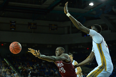 Jan 2, 2016: New Mexico State Aggies forward Pascal Siakam (43) throws a pass to a teammate in a game between New Mexico State and UC Irvine at the Bren Events Center in Irvine, Calif. The Anteaters defeated the Aggies 54-52.