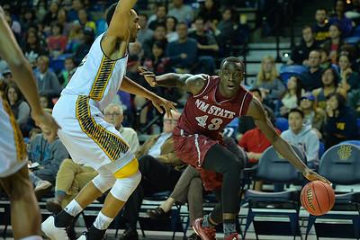 Jan 2, 2016: New Mexico State Aggies forward Pascal Siakam (43) drives the baseline in a game between New Mexico State and UC Irvine at the Bren Events Center in Irvine, Calif. The Anteaters defeated the Aggies 54-52.