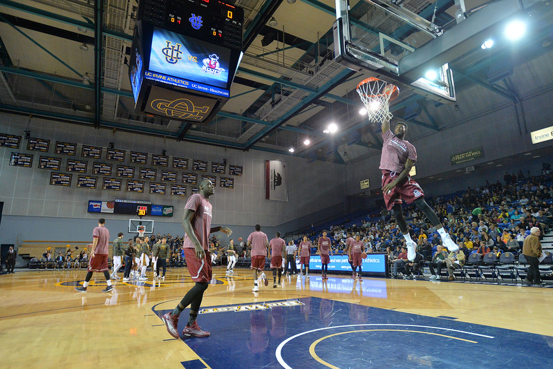 Jan 2, 2016: The Aggies warm up before a game between New Mexico State and UC Irvine at the Bren Events Center in Irvine, Calif. The Anteaters defeated the Aggies 54-52.