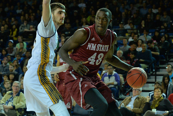 Jan 2, 2016: New Mexico State Aggies forward Pascal Siakam (43) looks to get into the paint in a game between New Mexico State and UC Irvine at the Bren Events Center in Irvine, Calif. The Anteaters defeated the Aggies 54-52.