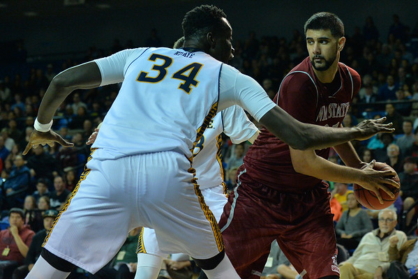 Jan 2, 2016: New Mexico State Aggies center Tanveer Bhullar (21) goes up against UC Irvine Anteaters center Mamadou Ndiaye (34) in a game between New Mexico State and UC Irvine at the Bren Events Center in Irvine, Calif. The Anteaters defeated the Aggies 54-52.