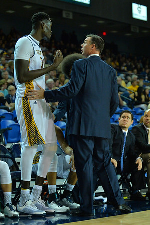 Jan 2, 2016: UC Irvine Anteaters head coach Russell Turner talks to UC Irvine Anteaters center Mamadou Ndiaye (34) in a game between New Mexico State and UC Irvine at the Bren Events Center in Irvine, Calif. The Anteaters defeated the Aggies 54-52.