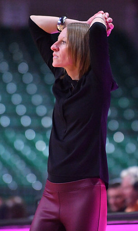 LAS VEGAS, NV - MARCH 07:  Head coach Brooke Atkinson of the New Mexico State Aggies looks on during her team's game against the Chicago State Cougars during a quarterfinal game of the Western Athletic Conference basketball tournament at the Orleans Arena in Las Vegas, Nevada. The Aggies won 84-60.