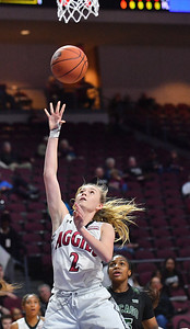 LAS VEGAS, NV - MARCH 07:  Brooke Salas #2 of the New Mexico State Aggies gets a layup against the Chicago State Cougars during a quarterfinal game of the Western Athletic Conference basketball tournament at the Orleans Arena in Las Vegas, Nevada. The Aggies won 84-60.