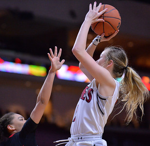 LAS VEGAS, NV - MARCH 09:  Brooke Salas #2 of the New Mexico State Aggies shoots against the Seattle Redhawks during a semifinal game of the Western Athletic Conference basketball tournament at the Orleans Arena in Las Vegas, Nevada. Seattle won 84-61.