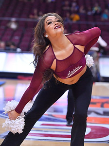LAS VEGAS, NV - MARCH 09:  An New Mexico State Aggies Sundancer performs during the team's semifinal game of the Western Athletic Conference basketball tournament against the Seattle Redhawks at the Orleans Arena in Las Vegas, Nevada. Seattle won 84-61.