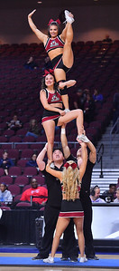 LAS VEGAS, NV - MARCH 09:  New Mexico State Aggies cheerleaders perform during the team's semifinal game of the Western Athletic Conference basketball tournament against the Seattle Redhawks at the Orleans Arena in Las Vegas, Nevada. Seattle won 84-61.
