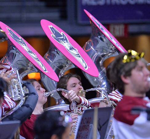 LAS VEGAS, NV - MARCH 09:  The New Mexico State Aggies pep band the Roadrunner Revue performs during the team's semifinal game of the Western Athletic Conference basketball tournament against the Seattle Redhawks at the Orleans Arena in Las Vegas, Nevada. Seattle won 84-61.