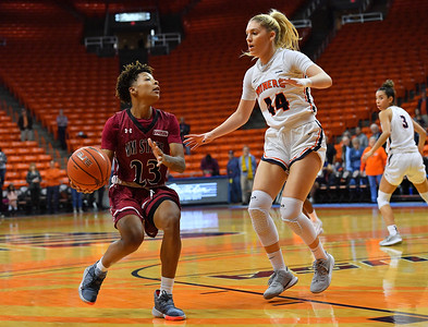 EL PASO, TEXAS - NOVEMBER 23, 2019:  Aaliyah Prince #23 of the New Mexico State Aggies looks to drive against Katarina Zec #44 of the UTEP Miners during their game at the Don Haskins Center on November 23, 2019 in El Paso, Texas. The Miners defeated the Aggies 65-45.  (Photo by Sam Wasson/bleedCrimson.net)