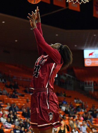 EL PASO, TEXAS - NOVEMBER 23, 2019:  Adenike Aderinto #24 of the New Mexico State Aggies shoots against the UTEP Miners during their game at the Don Haskins Center on November 23, 2019 in El Paso, Texas. The Miners defeated the Aggies 65-45.  (Photo by Sam Wasson/bleedCrimson.net)