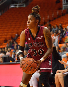 EL PASO, TEXAS - NOVEMBER 23, 2019:  Gia Pack #30 of the New Mexico State Aggies looks to shoot against the UTEP Miners during their game at the Don Haskins Center on November 23, 2019 in El Paso, Texas. The Miners defeated the Aggies 65-45.  (Photo by Sam Wasson/bleedCrimson.net)