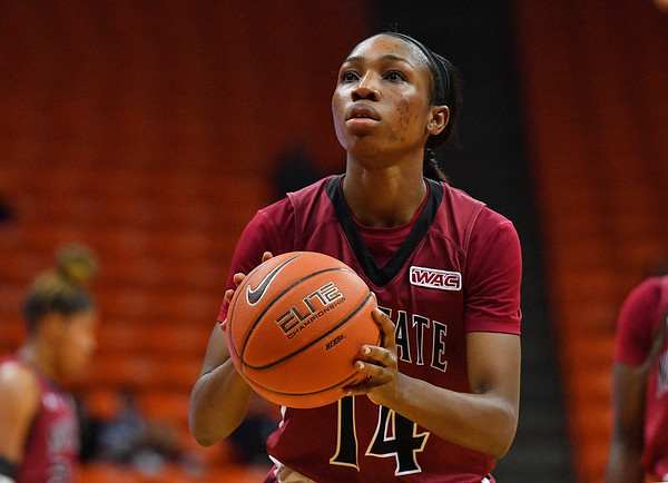 EL PASO, TEXAS - NOVEMBER 23, 2019:  Nana Sule #14 of the New Mexico State Aggies shoots a free throw against the UTEP Miners during their game at the Don Haskins Center on November 23, 2019 in El Paso, Texas.  (Photo by Sam Wasson/bleedCrimson.net)