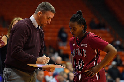 EL PASO, TEXAS - NOVEMBER 23, 2019:  Assistant coach Ryan McAdams of the New Mexico State Aggies talks to Adrianna Henderson #10 of the Aggies during their game at the Don Haskins Center on November 23, 2019 in El Paso, Texas. The Miners defeated the Aggies 65-45.  (Photo by Sam Wasson/bleedCrimson.net)