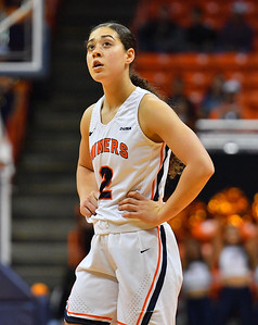 EL PASO, TEXAS - NOVEMBER 23, 2019:  Tia Bradshaw #2 of the UTEP Miners stands on the court during her team's game against the New Mexico State Aggies at the Don Haskins Center on November 23, 2019 in El Paso, Texas.  (Photo by Sam Wasson/bleedCrimson.net)