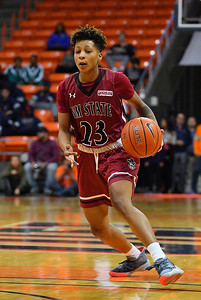 EL PASO, TEXAS - NOVEMBER 23, 2019:  Aaliyah Prince #23 of the New Mexico State Aggies looks to drive against the UTEP Miners during their game at the Don Haskins Center on November 23, 2019 in El Paso, Texas.  (Photo by Sam Wasson/bleedCrimson.net)