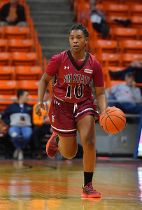 EL PASO, TEXAS - NOVEMBER 23, 2019:  Adrianna Henderson #10 of the New Mexico State Aggies dribbles against the UTEP Miners during their game at the Don Haskins Center on November 23, 2019 in El Paso, Texas.  (Photo by Sam Wasson/bleedCrimson.net)