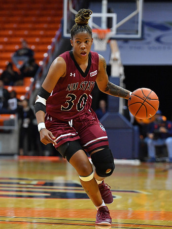 EL PASO, TEXAS - NOVEMBER 23, 2019:  Gia Pack #30 of the New Mexico State Aggies dribbles against the UTEP Miners during their game at the Don Haskins Center on November 23, 2019 in El Paso, Texas. The Miners defeated the Aggies 65-45.  (Photo by Sam Wasson/bleedCrimson.net)