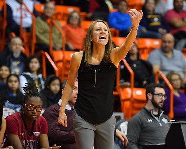 EL PASO, TEXAS - NOVEMBER 23, 2019:  Head coach Brooke Atkinson of the New Mexico State Aggies gestures to her team during their game against the UTEP Miners at the Don Haskins Center on November 23, 2019 in El Paso, Texas. The Miners defeated the Aggies 65-45.  (Photo by Sam Wasson/bleedCrimson.net)