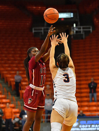 EL PASO, TEXAS - NOVEMBER 23, 2019:  Soufia Inoussa #11 of the New Mexico State Aggies shoots against Katia Gallegos #3 of the UTEP Miners during their game at the Don Haskins Center on November 23, 2019 in El Paso, Texas. The Miners defeated the Aggies 65-45.  (Photo by Sam Wasson/bleedCrimson.net)
