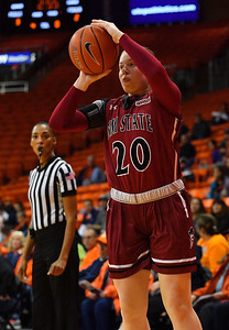 EL PASO, TEXAS - NOVEMBER 23, 2019:  Amanda Soderqvist #20 of the New Mexico State Aggies shoots against the UTEP Miners during their game at the Don Haskins Center on November 23, 2019 in El Paso, Texas. The Miners defeated the Aggies 65-45.  (Photo by Sam Wasson/bleedCrimson.net)