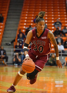 EL PASO, TEXAS - NOVEMBER 23, 2019:  Gia Pack #30 of the New Mexico State Aggies dribbles against the UTEP Miners during their game at the Don Haskins Center on November 23, 2019 in El Paso, Texas.  (Photo by Sam Wasson/bleedCrimson.net)