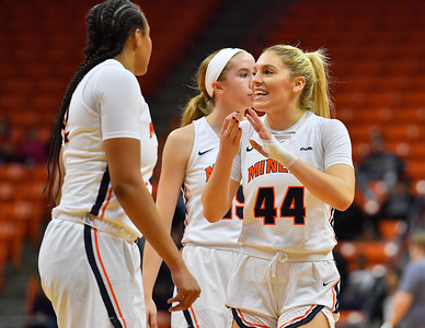 EL PASO, TEXAS - NOVEMBER 23, 2019:  Katarina Zec #44 of the UTEP Miners talks to her teammates during their game against the New Mexico State Aggies at the Don Haskins Center on November 23, 2019 in El Paso, Texas.  (Photo by Sam Wasson/bleedCrimson.net)