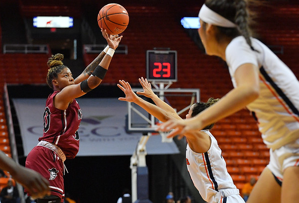 EL PASO, TEXAS - NOVEMBER 23, 2019:  Gia Pack #30 of the New Mexico State Aggies shoots against the UTEP Miners during their game at the Don Haskins Center on November 23, 2019 in El Paso, Texas. The Miners defeated the Aggies 65-45.  (Photo by Sam Wasson/bleedCrimson.net)