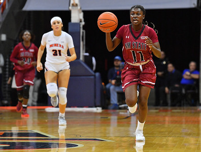 EL PASO, TEXAS - NOVEMBER 23, 2019:  Soufia Inoussa #11 of the New Mexico State Aggies brings the ball up the court against the UTEP Miners during their game at the Don Haskins Center on November 23, 2019 in El Paso, Texas. The Miners defeated the Aggies 65-45.  (Photo by Sam Wasson/bleedCrimson.net)