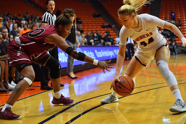 EL PASO, TEXAS - NOVEMBER 23, 2019:  Katarina Zec #44 of the UTEP Miners steals the ball from Gia Pack #30 of the New Mexico State Aggies during their game at the Don Haskins Center on November 23, 2019 in El Paso, Texas. The Miners defeated the Aggies 65-45.  (Photo by Sam Wasson/bleedCrimson.net)