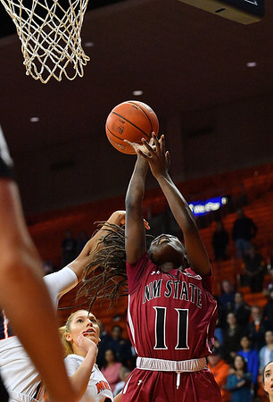 EL PASO, TEXAS - NOVEMBER 23, 2019:  Soufia Inoussa #11 of the New Mexico State Aggies shoots against the UTEP Miners during their game at the Don Haskins Center on November 23, 2019 in El Paso, Texas. The Miners defeated the Aggies 65-45.  (Photo by Sam Wasson/bleedCrimson.net)