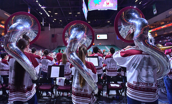 LAS VEGAS, NV - MARCH 08:  The New Mexico State Aggies pep band the Roadrunner Revue performs before the team's quarterfinal game of the Western Athletic Conference basketball tournament against the Chicago State Cougars at the Orleans Arena in Las Vegas, Nevada. The Aggies won 97-70.