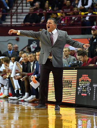 LAS CRUCES, NEW MEXICO - NOVEMBER 21, 2019:  Head coach Chris Jans of the New Mexico State Aggies  gestures during his team's game against the New Mexico Lobos at The Pan American Center on November 20, 2019 in Las Cruces, New Mexico. The Lobos defeated the Aggies 78-77.  (Photo by Sam Wasson/bleedCrimson.net)